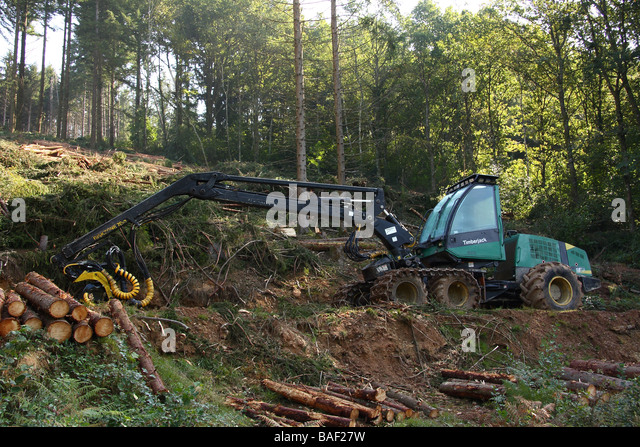A Timberjack logging machine in woodland Limousin France - Stock Image