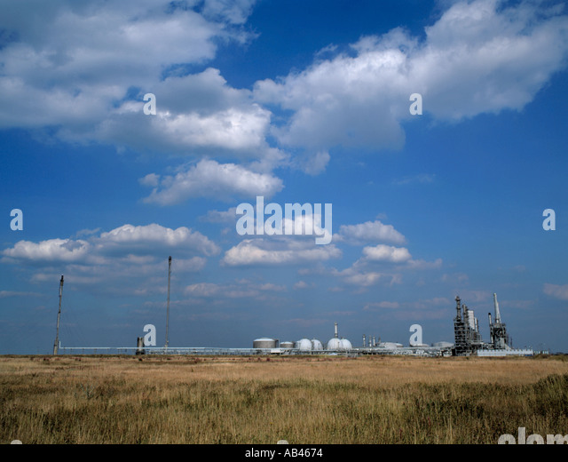 Panorama of a petrochemical refinery on Seal Sands, Teesside, England, UK. - Stock Image