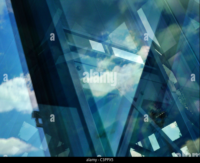 Abstract reflecting architectural composition. - Stock Image