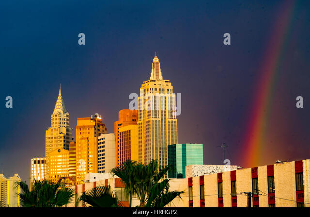 New York, New York and rainbow, Las Vegas, Nevada - Stock-Bilder