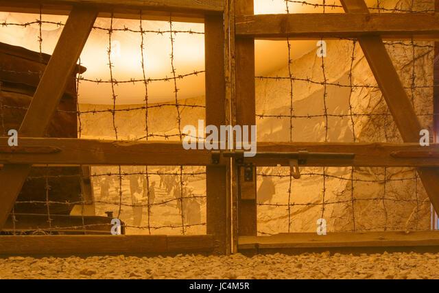 Barbed wire Fence of a Concenration Camp , Oskar Schindler´s Factory, Historical Museum of Krakow , Krakow, - Stock-Bilder