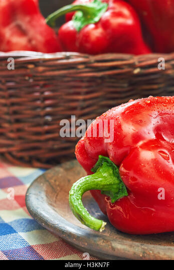 Sweet red peppers, type of pepper known as Elephants Ear - Stock Image