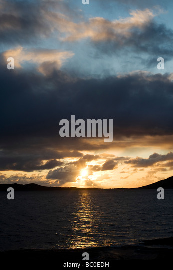 Sunset over Sound of Taransay , Isle of Harris, Outer Hebrides, Scotland - Stock Image