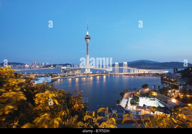 Macau Tower At Dusk, Macau - Stock Image