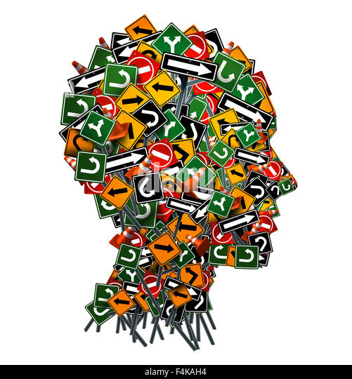 Confused thinking and uncertainty symbol as a group of traffic or road arrow signs shaped as a human head as a decision - Stock Image