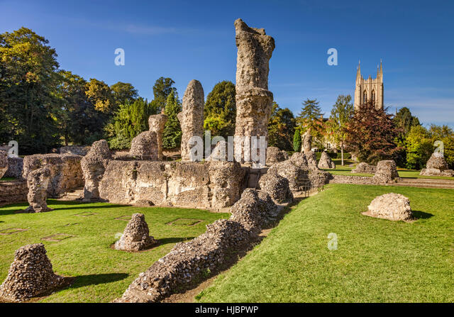 Bury St Edmunds Abbey and Cathedral, Cambridgeshire, England, UK - Stock Image