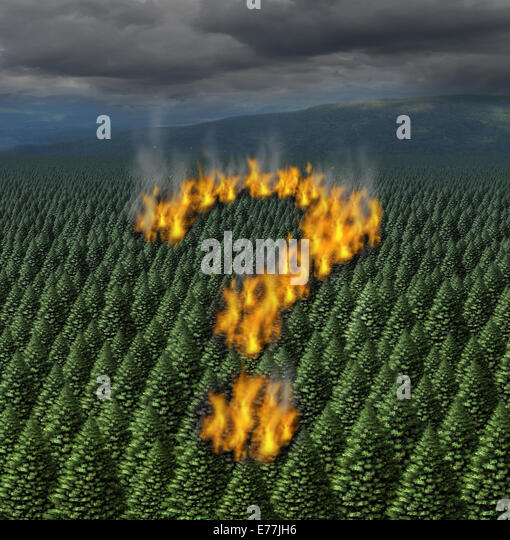 Forest fire concept as a raging wildfire burning through a forest of pine trees shaped as a question mark as a symbol - Stock-Bilder