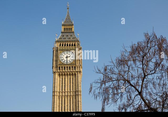 Big Ben clock face, Westminster, Whitehall, London, UK. Photo:Jeff GHilbert - Stock Image