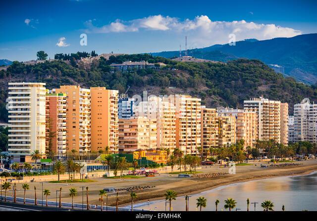 Malaga, Spain at Malagueta Beach along Costa del Sol. - Stock-Bilder