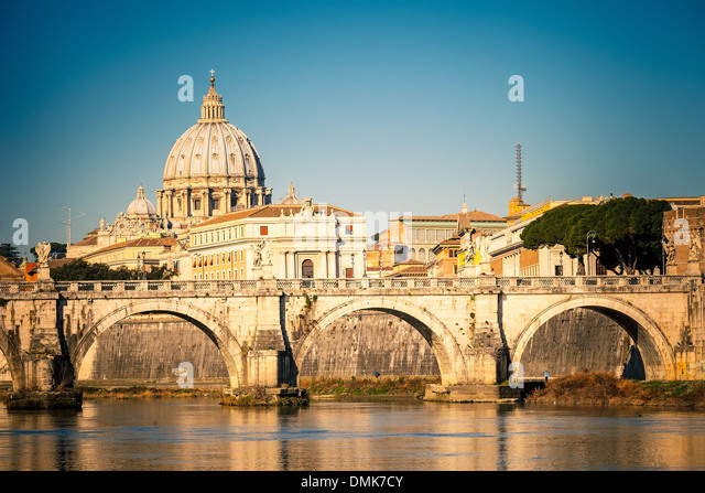 Tiber and St. Peter's cathedral, Rome - Stock Image