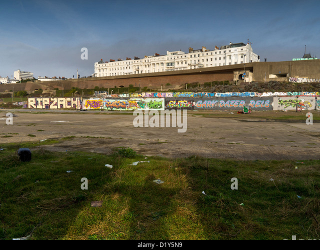 Black Rock, Brighton, towards Kemp Town. Site of the former lido and swimming pool - Stock Image