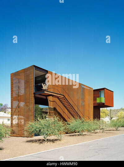 Exterior overall view from the Southeast. Xeros House, Phoenix, United States. Architect: Blank Studio, 2006. - Stock-Bilder