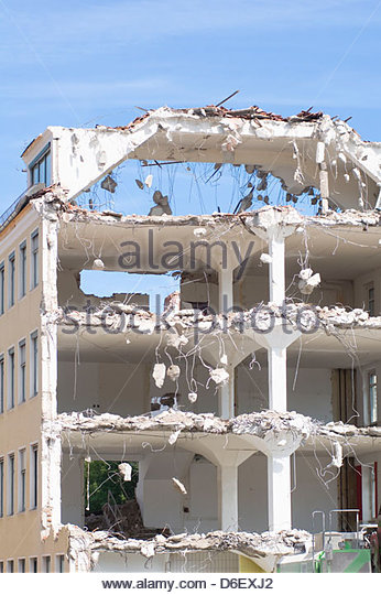 Demolition site building destruction old concrete - Stock Image