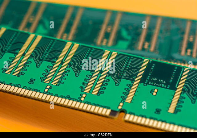 Computing / Computer memory concept. Two 184-pin DDR SDRAM modules showing underside of DIMMs (dual in-line memory - Stock Image