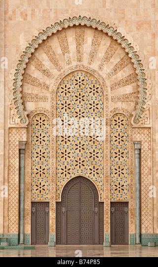 Detail of Hassan II Mosque in Casablanca Morocco - Stock Image