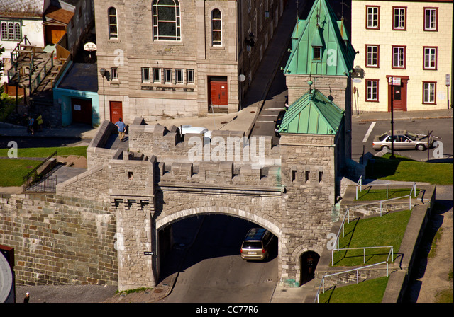 City Gate and old city wall above aerial at old Quebec City, Canada - Stock Image