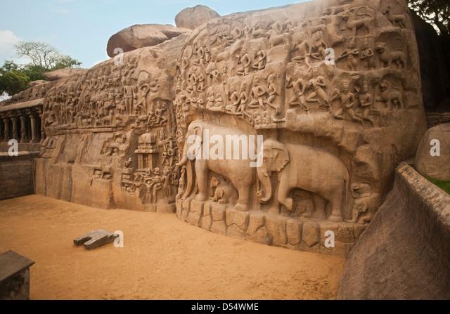 Bas relief descent mahabalipuram mamallapuram tamil stock