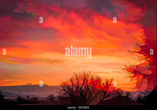 DELIBERATE ARTISTIC INTERPRETATION OF ORIGINAL LANDSCAPE PHOTOGRAPH TO SIMULATE GLOBAL WARMING - Stock Image
