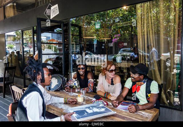 Johannesburg South Africa African Maboneng District Arts on Main Fox Street gentrified urban neighborhood Pata Pata - Stock Image