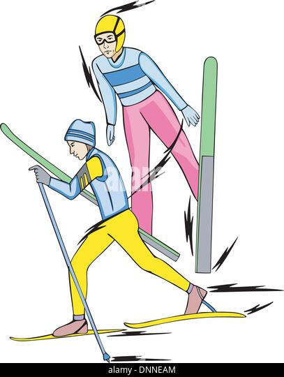 Skiing - winter sports: Nordic Combined. Skiers. Ñolor vector illustration. - Stock-Bilder