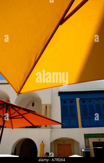 Umbrella or sunshades Tunisian New Medina Hammamet Yasmine - Stock Image