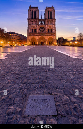 Notre Dame de Paris cathedral at sunrise. Ile de La Cite, Parvis Notre Dame (Place Jean-Paul II), 4th Arrondissement, - Stock Image
