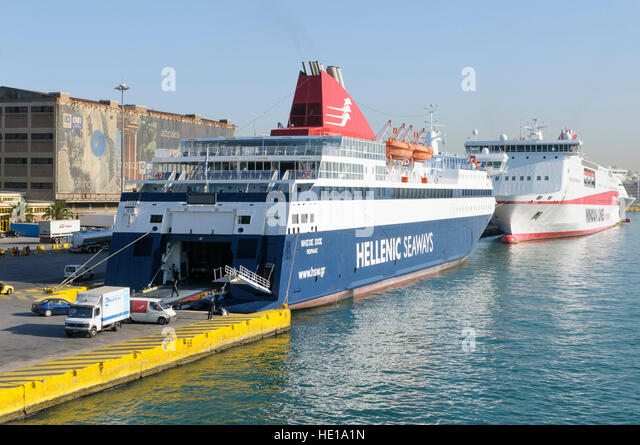 The Ro/Ro ferry, Nissos Chios (IMO 9215555)  from Hellenic Seaways moored in Piraeus harbour, Athens, Greece - Stock Image