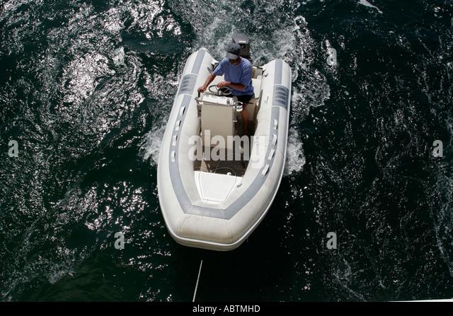 Sint Maarten Simpson Bay Lagoon Dutch inflatable dinghy - Stock Image