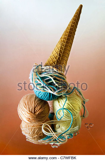 Ice cream composed of balls of wool - Stock Image