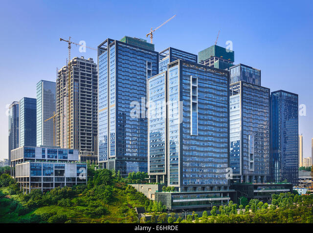 Modern office buildings newly built in Chongqing, China. - Stock-Bilder