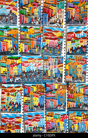 Souvenirs in Pelourinho or the old town, Salvador, Brazil - Stock Image