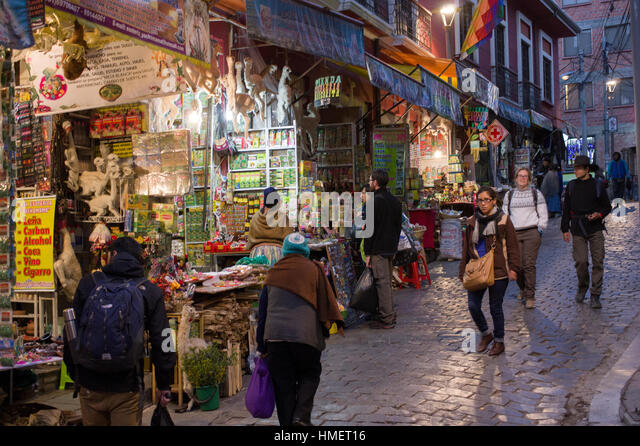 Witches Market, Calle de las Brujas, in La Paz, Bolivia, popular tourist attraction and traditional medicine - Stock Image