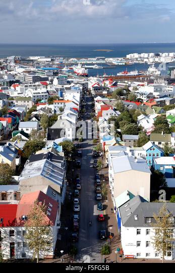 Aerial view of Reykjavik, Iceland - Stock Image