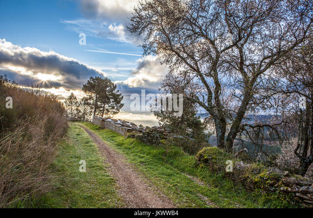 Villuercas geopark trail, Caceres, Extremadura, Spain. Old boundary wall - Stock Image