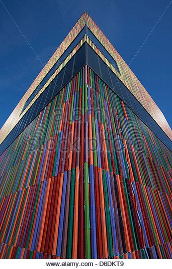 Modern architecture multicolored gable end Munich - Stock Image