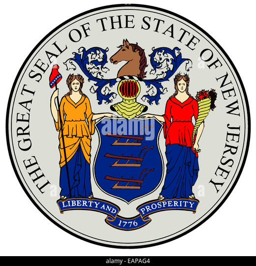 The great seal of the state of New Jersey isolated on a white background - Stock Image