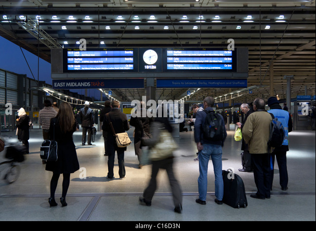 East Midland Trains Platform - St Pancras Station - London - Stock Image