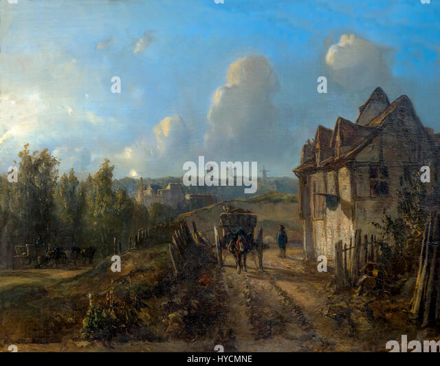 View on Montmartre, by Johan Barthold Jongkind, circa 1850, Boijmans van Beuningen Museum, Rotterdam, Netherlands, - Stock Image