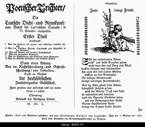 Hasdoerffer, Georg Philipp, 1.11.1607 - 17.9.1658, German poet, works, 'Poetischer Trichter' (Poetic Funnel), - Stock Image