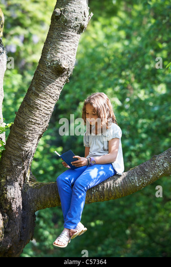 Girl reading in tree outdoors - Stock Image