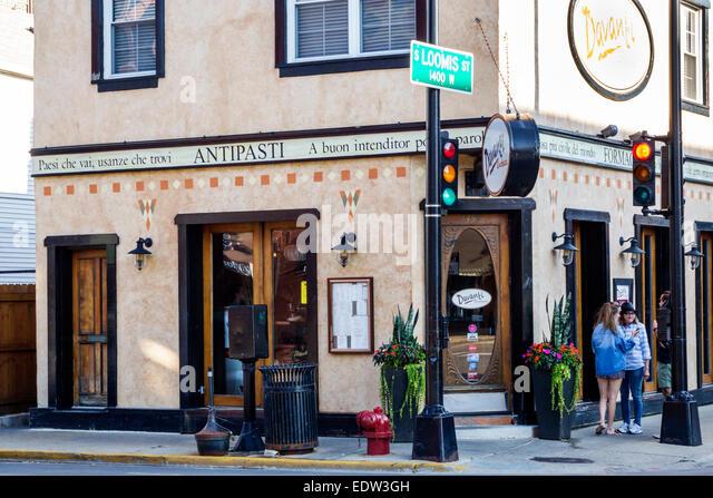 Chicago Illinois Little Italy Loomis Street Taylor Davanti Enoteca Davanti restaurant Italian front - Stock Image