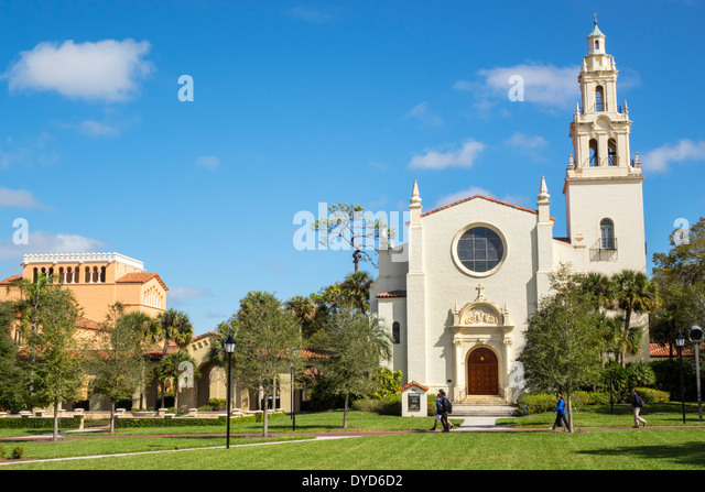 Winter Park Florida Rollins College campus school Knowles Memorial Chapel Annie Russell Theatre theater exterior - Stock Image