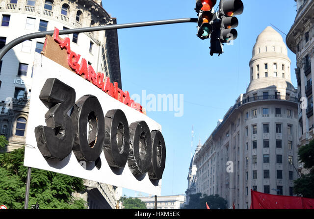 Buenos Aires, Argentina - March 24, 2017: Demonstrations on the anivesary of Argentina's dictatorship, on March - Stock Image