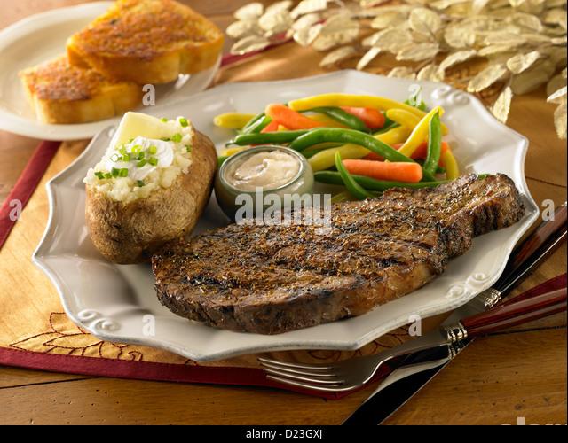 Prime rib dinner - Stock Image