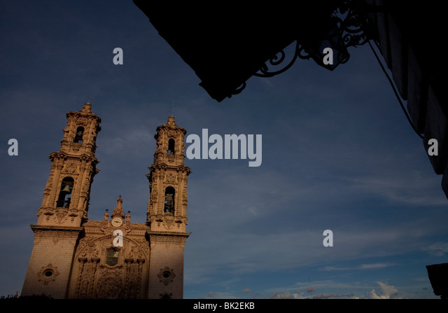 Santa Prisca and San Sebastian Church in Taxco de Alarcon, Guerrero State, Mexico, August 20, 2007. Photo/Chico - Stock Image