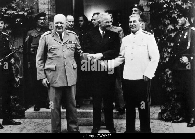 The Potsdam Conference, Winston Churchill, Harry S. Truman and Joseph Stalin, 1945. - Stock Image
