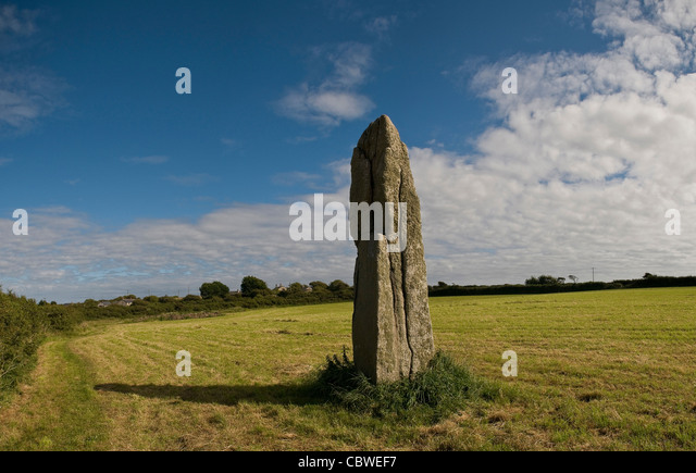 The Pipers Neolithic standing stones near St. Buryan, Cornwall, UK - Stock Image