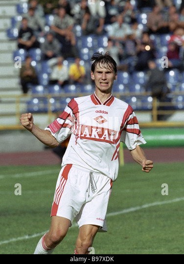 Yegor Titov half back of the Moscow Spartacus Club and the Russian national football team - Stock Image
