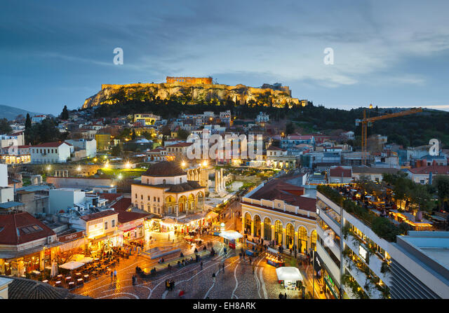 Monastiraki square and Plaka, Athens, Greece - Stock Image