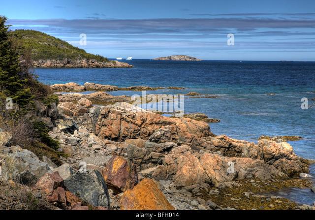New World Island with Icebergs, Newfoundland, Canada - Stock-Bilder
